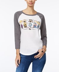 Mighty Fine Peanuts Juniors' Graphic Baseball T Shirt Linen Charcoal