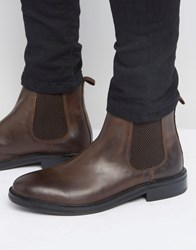 Asos Chelsea Boots In Brown Leather With Heavy Sole Brown