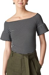 Whistles Stripe Off The Shoulder Top Navy Multi