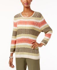 Alfred Dunner Petite Cactus Ranch Striped Sweater Multi