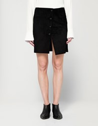 Assembly New York Mini Wrap Skirt Black Suede