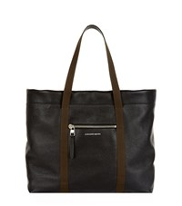 Alexander Mcqueen Canvas Trim Leather Shopper Tote Unisex Black
