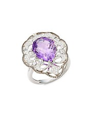 Effy Diamond Amethyst And 14K White Gold Solid Fill Statement Ring