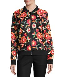 Alexia Admor Allover Embroidered Bomber Jacket Multi