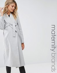 New Look Maternity Belted Wrap Coat Grey