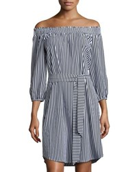 Neiman Marcus Smocked Off The Shoulder Striped Dress Blue White
