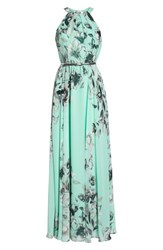 Eliza J Belted Chiffon Maxi Dress Mint
