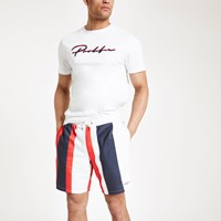 River Island Red 'Prolific' Stripe Slim Fit Jersey Shorts