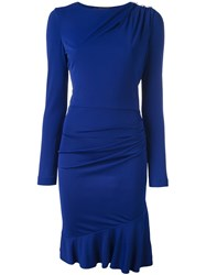 Roberto Cavalli Drop Waist Ruched Shoulder Dress Blue