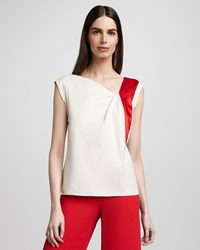 Rachel Roy Stretch Poplin Inset Shell Women's