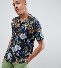 Asos Design Tall Regular Fit Floral Shirt With Revere Collar In Black