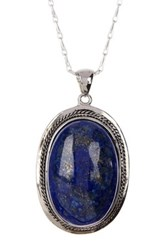 Mistraya Jewelry Lapis Cabochon Long Pendant Necklace Blue