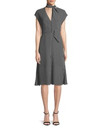 Milly Gabby Polka Dot Silk Tie Neck Dress Black White