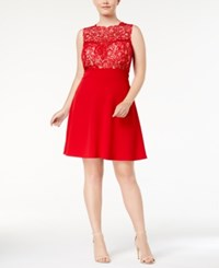 Love Squared Trendy Plus Size Lace Fit And Flare Dress Red