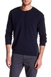 Kenneth Cole Mixed Crew Neck Sweater Blue