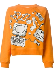 Moschino Cheap And Chic Accessories Print Sweatshirt Yellow And Orange