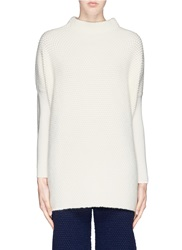 Victor Alfaro Superfine Wool Angora Blend Combo Knit Sweater White