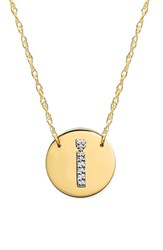 Women's Jane Basch Designs Diamond Initial Disc Pendant Necklace Gold I