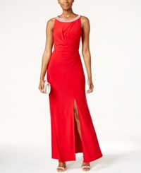 Alex Evenings Embellished Ruched Slit Gown Red