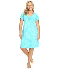 Fresh Produce Plus Size Cancun Effortless Dress Luna Turquoise Women's Dress Blue