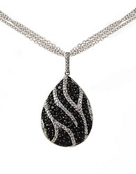 Lord And Taylor Black Sapphire Diamond Necklace In Sterling Silver Black Sapphire Silver