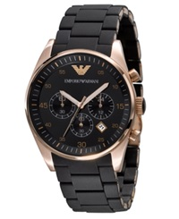 Emporio Armani Watch Men's Chronograph Black Silicone And Stainless Steel Bracelet Ar5905