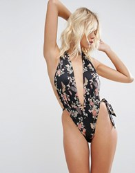 Hot As Hell Shirred Plunge Suit Butterflies And Bs Multi
