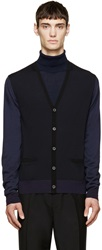 Lanvin Navy Merino Colorblock Cardigan