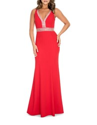 Decode 1.8 Beaded Fishtail Gown Red