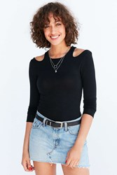 Silence And Noise Cold Shoulder Sweater Black