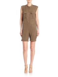 Bcbgmaxazria Urban Jungle Banks Cargo Romper Dark Olive