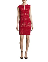 Tadashi Shoji Cap Sleeve Velvet Cutout Sheath Dress Red Rockin