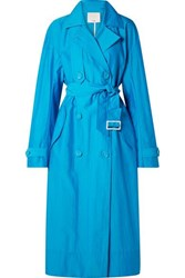 Tibi Oversized Double Breasted Shell Trench Coat Blue