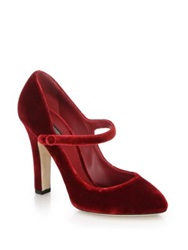 Dolce And Gabbana Velvet Mary Jane Pumps Red Purple