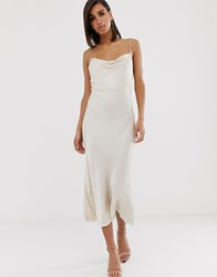Bec And Bridge The Kat Cowl Midi Dress In Zebra Jaquard Cream
