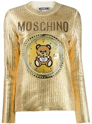 Moschino Teddy Clock Embroidered Sweater Gold