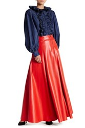 Tov Faux Leather Maxi Skirt Red