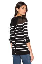 John And Jenn By Line Calida Stripe Sweater Black And White