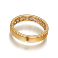 Openjart Sapphires Inside Women's Solid Wedding Ring Gold