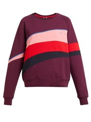The Upside Bondi Colour Block Cotton Sweatshirt Burgundy Multi