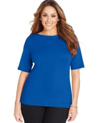 Charter Club Plus Size Boat Neck T Shirt Only At Macy's Blazing Blue