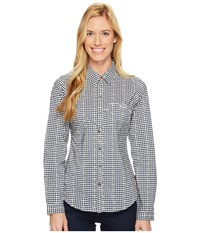 Columbia Super Harborside Woven Long Sleeve Shirt Collegiate Navy Dot Gingham Sunlit Women's Long Sleeve Button Up Collegiate Navy Dot Gingham Sunlit