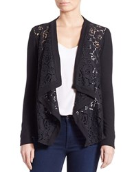 Red Haute Draped Open Front Lace Cardigan Black