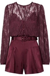 Jonathan Simkhai Belted Satin And Stretch Silk Lace Playsuit Burgundy