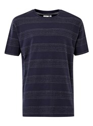 Topman Ltd Navy And White Jaquard Stripe Oversized T Shirt Blue