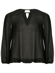 Threads Plus Size Star Cut Out Sheer Blouse Black