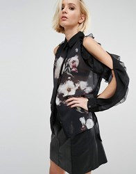 Religion Sheer Shirt With Cold Shoulder Frills And Floral Imagery Jet Black Floral