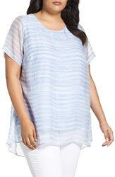 Vince Camuto Plus Size Women's Graceful Phrases Chiffon Overlay Top Stormy Blue