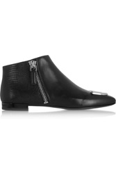 Kenzo Embellished Lizard Effect Leather Ankle Boots