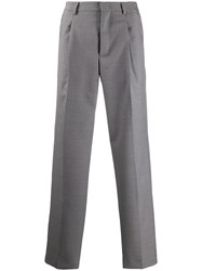 Msgm Logo Patch Loose Fit Trousers Grey